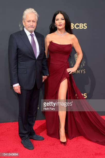 Michael Douglas and Catherine Zeta-Jones attend the 73rd Primetime Emmy Awards at L.A. LIVE on September 19, 2021 in Los Angeles, California.