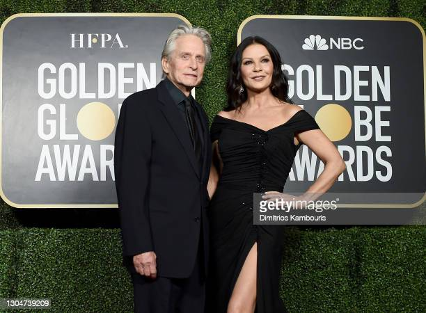Michael Douglas and Catherine Zeta-Jones attend the 78th Annual Golden Globe® Awards at The Rainbow Room on February 28, 2021 in New York City.