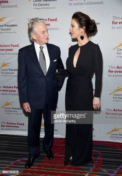 Michael Douglas and Catherine ZetaJones attend The Actor's Fund Career Transition For Dancers 2017 Jubilee Gala at Marriott Marquis Hotel on November...