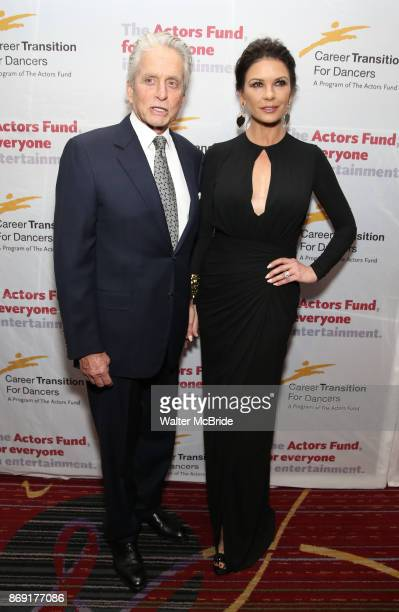 Michael Douglas and Catherine ZetaJones attend the Actors Fund Career Transition For Dancers Gala on November 1 2017 at The Marriott Marquis in New...