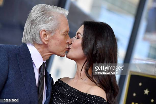Michael Douglas and Catherine ZetaJones attend the ceremony honoring Michael Douglas with star on the Hollywood Walk of Fame on November 06 2018 in...