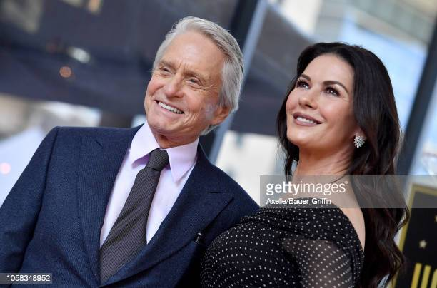 Michael Douglas and Catherine Zeta-Jones attend the ceremony honoring Michael Douglas with star on the Hollywood Walk of Fame on November 06, 2018 in...
