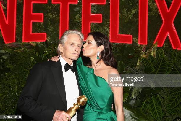 Michael Douglas and Catherine ZetaJones attend the Netflix 2019 Golden Globes After Party on January 6 2019 in Los Angeles California