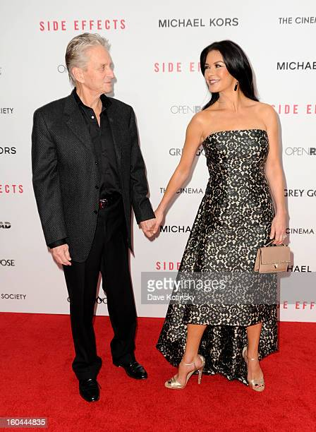 Michael Douglas and Catherine ZetaJones attend the premiere of Side Effects hosted by Open Road with The Cinema Society and Michael Kors at AMC...