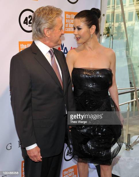 Michael Douglas and Catherine Zeta-Jones attend the The Film Society of Lincoln Center's 37th Annual Chaplin Award gala at Alice Tully Hall on May...