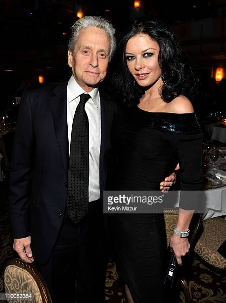 Michael Douglas and Catherine ZetaJones attends a dinner for the 26th annual Rock and Roll Hall of Fame Induction Ceremony at The Waldorf=Astoria on...