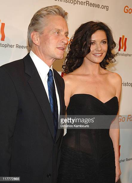"""Michael Douglas and Catherine Zeta-Jones during The Christopher Reeve Foundation's """"A Magical Evening"""" - Red Carpet at Marriott Marquis in New York,..."""