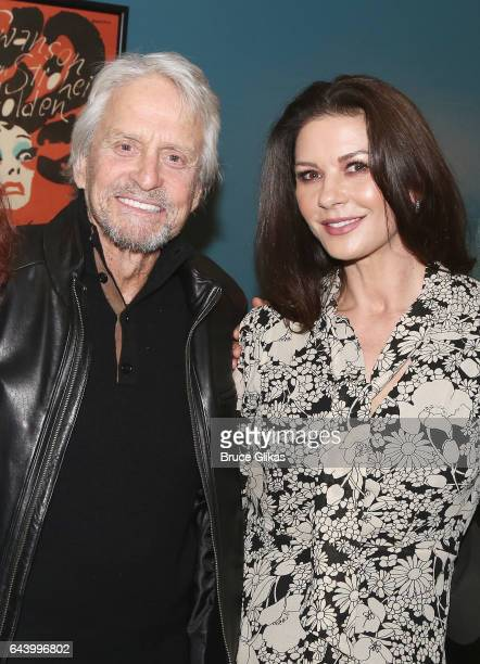 Michael Douglas and Catherine ZetaJones pose backstage at the hit musical 'Sunset Boulevard' on Broadway at The Palace Theater on February 22 2017 in...