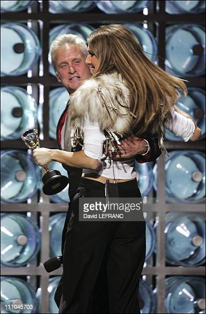 Michael Douglas and Celine Dion at The sixteenth World Music Award in Las Vegas United States on September 16 2004