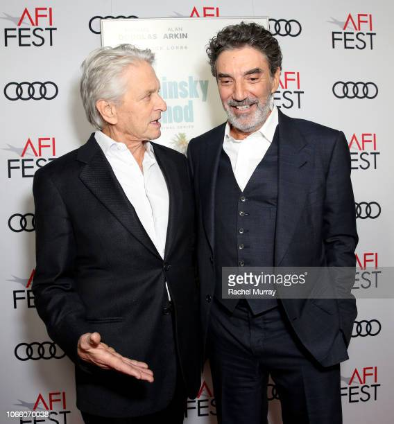 Michael Douglas and Chuck Lorre attend the Los Angeles Premiere of 'The Kominsky Method ' at AFI Fest at TCL Chinese Theatre on November 10 2018 in...