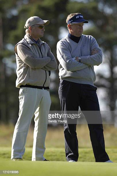 Michael Douglas and Colin Montgomerie during the First Round of the 2005 Dunhill Cup at Carnoustie on September 29 2005