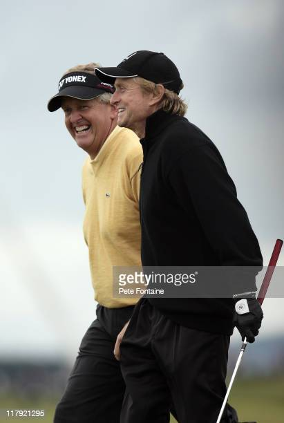 Michael Douglas and Colin Montgomerie during the second round of the 2006 Alfred Dunhill Links Championship held on the St Andrews Old Course on...