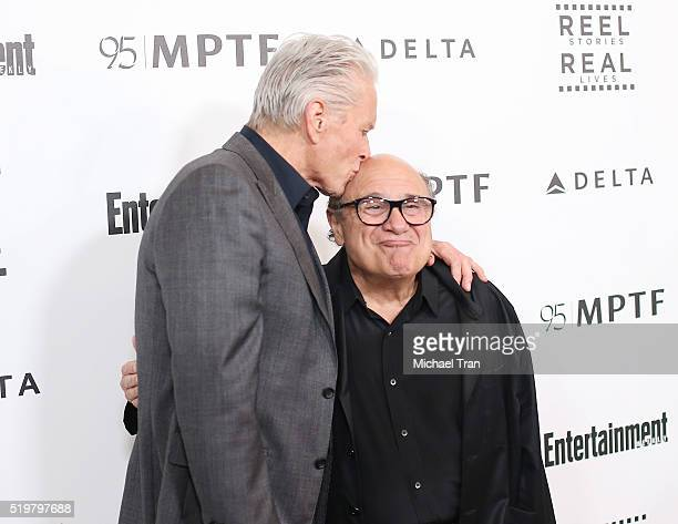 Michael Douglas and Danny DeVito arrive at the 5th Annual Reel Stories Real Lives Benefiting MPTF held at Milk Studios on April 7 2016 in Los Angeles...