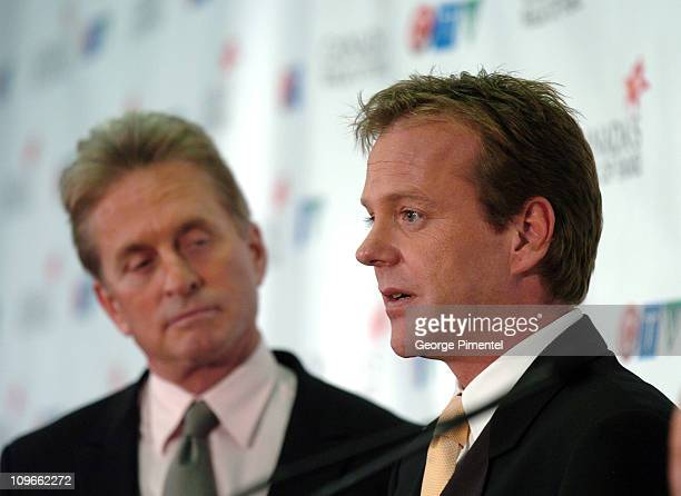 Michael Douglas and Kiefer Sutherland during 2005 Canada's Walk of Fame Press Room at Elgin Theatre in Toronto Ontario Canada