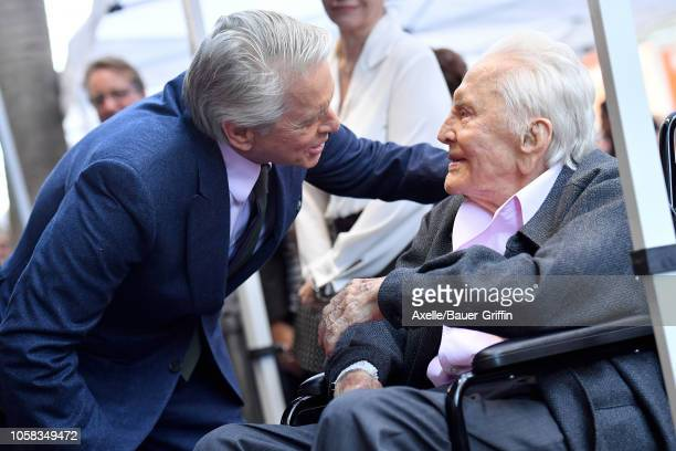 Michael Douglas and Kirk Douglas attend the ceremony honoring Michael Douglas with star on the Hollywood Walk of Fame on November 06 2018 in...