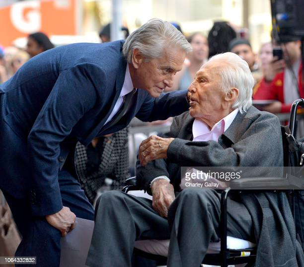 Michael Douglas and Kirk Douglas before the Hollywood Walk of Fame Ceremony Honoring Michael Douglas on Hollywood Boulevard on November 06 2018 in...