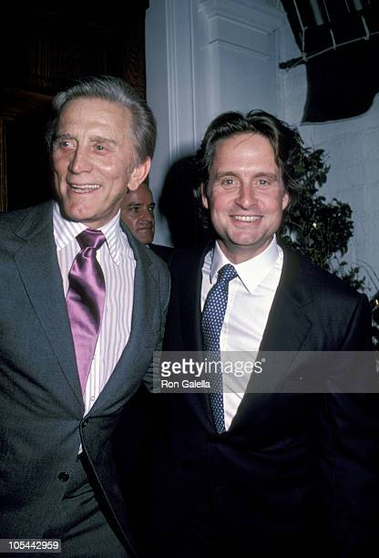 Michael Douglas and Kirk Douglas during Joseph Andrews Los Angeles Premiere at Century Plaza Hotel in Los Angeles California United States