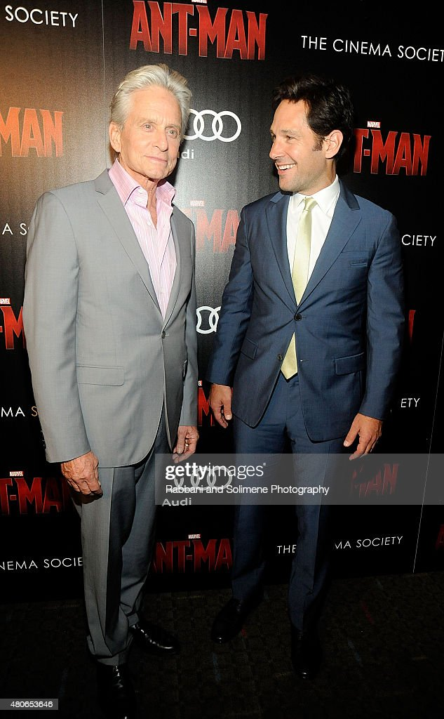Michael Douglas and Paul Rudd attend a Marvel's screening of 'Ant-Man' hosted by The Cinema Society and Audi on July 13, 2015 in New York City.