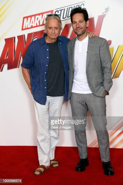 Michael Douglas and Paul Rudd attend the 'AntMan and the Wasp' photocall at The Corinthia Hotel on July 17 2018 in London England