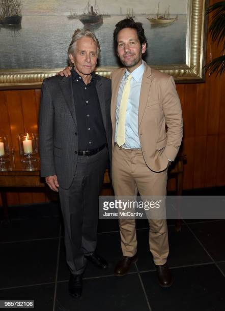 Michael Douglas and Paul Rudd attend The Cinema Society With Synchrony And Avion Host A Screening Of Marvel Studios' 'AntMan And The Wasp' After...