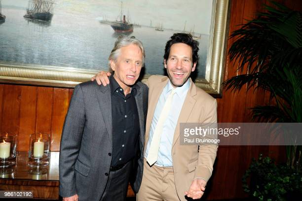 Michael Douglas and Paul Rudd attend The Cinema Society With Synchrony And Avion Host The After Party For Marvel Studios' AntMan And The Wasp at The...