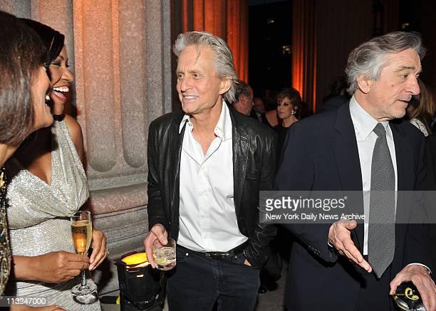 Michael Douglas and Robert De Niro at the Vanity Fair party at the Manhattan Supremem Court building