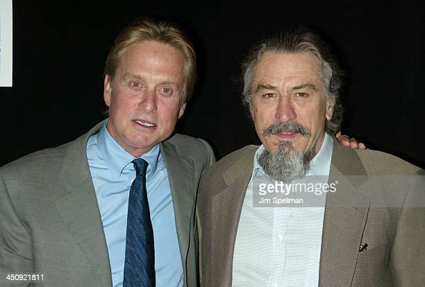 Michael Douglas and Robert De Niro during 2003 Tribeca Film Festival Premiere of The InLaws at Tribeca Performing Arts Center in New York City New...