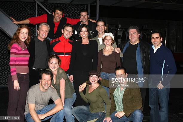 Michael Douglas and The Cast of Jersey Boys during Michael Douglas and Catherine ZetaJones Attend 'Jersey Boys' on Broadway at The August Wilson...