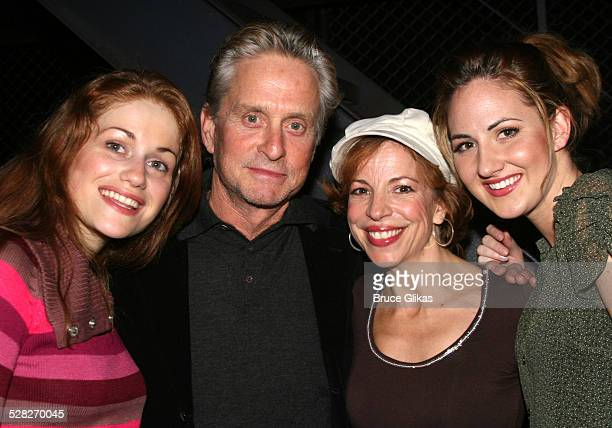 Michael Douglas and The Jersey Girls during Michael Douglas and Catherine ZetaJones Attend Jersey Boys on Broadway at The August Wilson Theater in...
