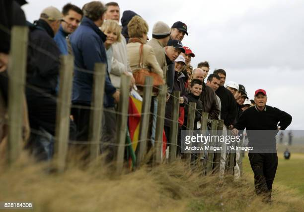 Michael Douglas at the seventeenth hole during the second round of the Dunhill Links Championships at St Andrews Golf Course Fife Scotland Friday...