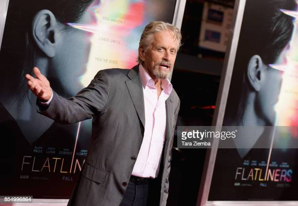 Michael Douglas attends the premiere of Columbia Pictures' 'Flatliners' at The Theatre at Ace Hotel on September 27 2017 in Los Angeles California