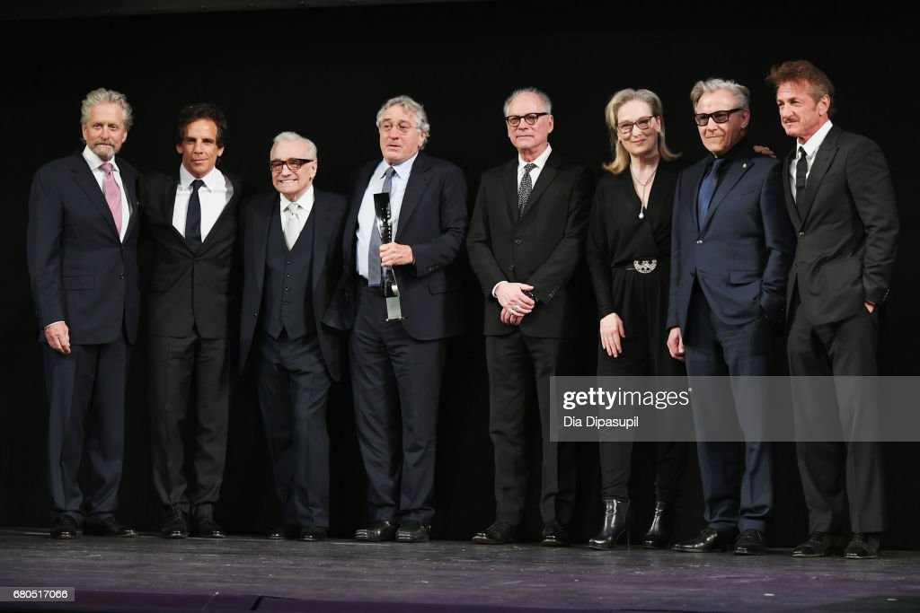 Michael Douglas, Ben Stiller, Martin Scorsese, Robert De Niro, Barry Levinson, Meryl Streep, Harvey Keitel and Sean Penn pose onstage during the 44th Chaplin Award Gala at David H. Koch Theater at Lincoln Center on May 8, 2017 in New York City.