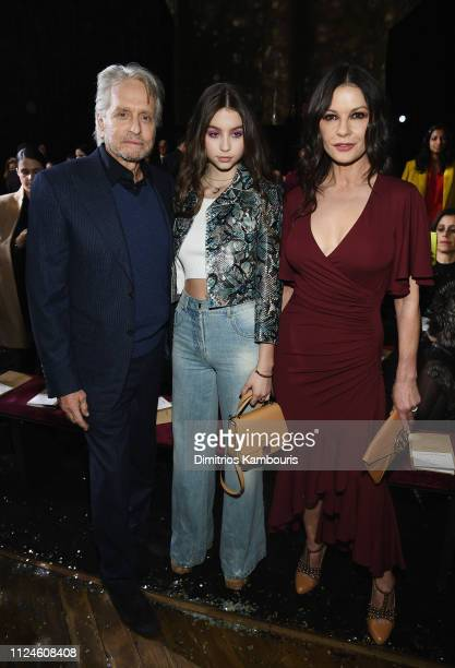 Michael Douglas Carys Zeta Douglas and Catherine ZetaJones attend the Michael Kors Collection Fall 2019 Runway Show at Cipriani Wall Street on...