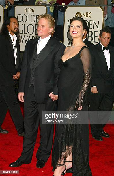 Michael Douglas Catherine Zeta Jones during The 60th Annual Golden Globe Awards Arrivals at The Beverly Hilton Hotel in Beverly Hills California...