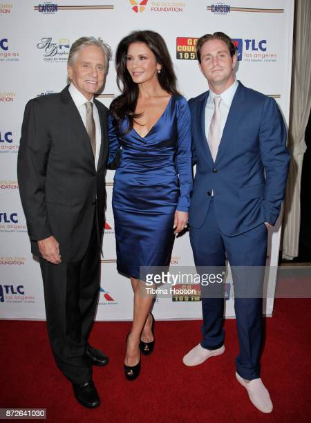 Michael Douglas Catherine ZetaJones and Cameron Douglas attend the Los Angeles Mission Legacy of Vision Gala at Four Seasons Hotel Los Angeles at...
