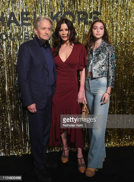 Michael Douglas Catherine ZetaJones and Carys Zeta Douglas attend the Michael Kors Collection Fall 2019 Runway Show at Cipriani Wall Street on...