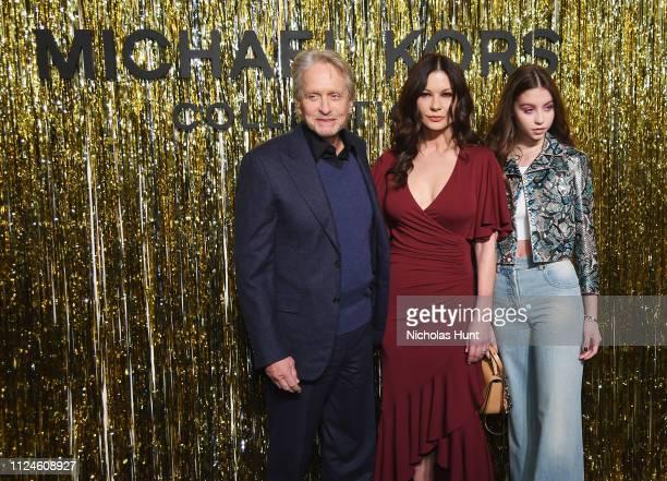 Michael Douglas Catherine ZetaJones and Carys Zeta Douglas attend the Michael Kors Collection Fall 2019 Runway Show at Cipriani Wall Street on...