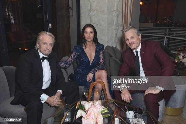 Michael Douglas Catherine ZetaJones and Viggo Mortensen attend Netflix 2019 SAG Awards after party at Sunset Tower Hotel on January 27 2019 in West...