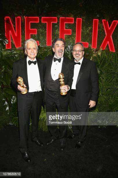 Michael Douglas Chuck Lorre and Al Higgins attend the Netflix 2019 Golden Globes After Party on January 6 2019 in Los Angeles California