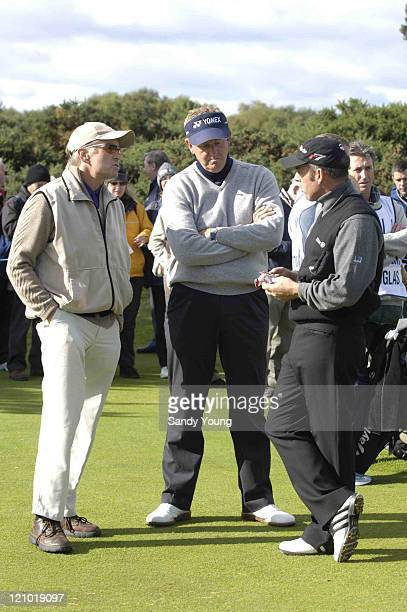 Michael Douglas Colin Montgomerie and Paul McGinley during the First Round of the 2005 Dunhill Cup at Carnoustie on September 29 2005