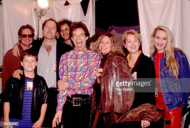 Michael Douglas Don Gummer Mick Jagger Barbra Streisand Meryl Streep and Jerry Hall on the Rolling Stones Steel Wheels Tour in 1989 in Los Angeles CA