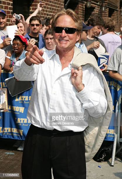 """Michael Douglas during Michael Douglas, The Fray, Anderson Cooper and Martin Short Visit the """"Late Show with David Letterman"""" - July 10, 2006 at Ed..."""