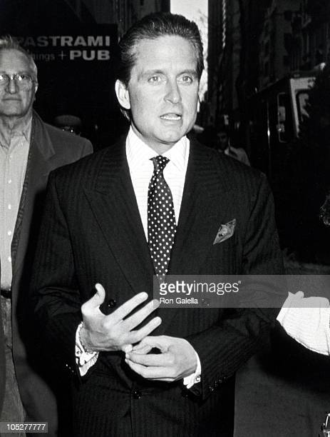 Michael Douglas during On The Set of 'Wall Street' April 29 1987 at New York City Financial District in New York City New York United States