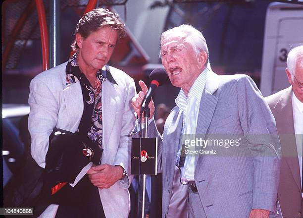 Michael Douglas Father Kirk Douglas during Michael Douglas Footprint Ceremony at Mann's Chinese Theatre in Hollywood California United States