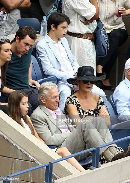 Michael Douglas his wife Catherine ZetaJones their daughter Carys Zeta Douglas and their son Dylan Michael Douglas attend the women's final on day...