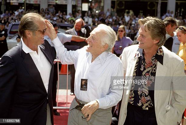 Michael Douglas Kirk Douglas and Jack Nicholson during Michael Douglas Footprint Ceremony at Mann's Chinese Theatre in Hollywood California United...