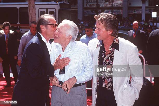 Michael Douglas Kirk Douglas Jack Nicholson during Michael Douglas Footprint Ceremony at Mann's Chinese Theatre in Hollywood California United States