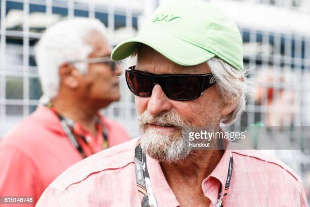 Michael Douglas on the grid during the New York City ePrix ninth round of the 2016/17 FIA Formula E Series on July 15 2017 in Brooklyn New York City...