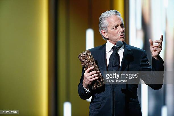 Michael Douglas receives and honour Cesar award during The Cesar Film Award 2016 at Theatre du Chatelet on February 26 2016 in Paris France
