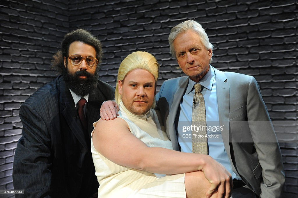 Michael Douglas reprises one of his most iconic movies with James Corden and Reggie Watts on 'The Late Late Show with James Corden,' Thursday, April 16 (12:37 - 1:37 AM, ET/PT) on the CBS Television Network. Pictured L-R: Reggie Watts, James Corden, and Michael Douglas